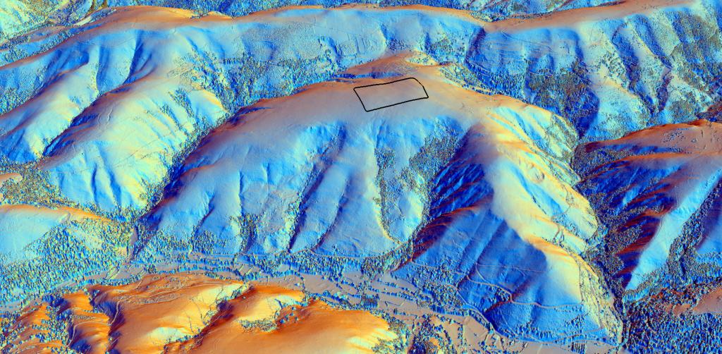 Visión da lomba desde o leste. Visualización LiDAR.