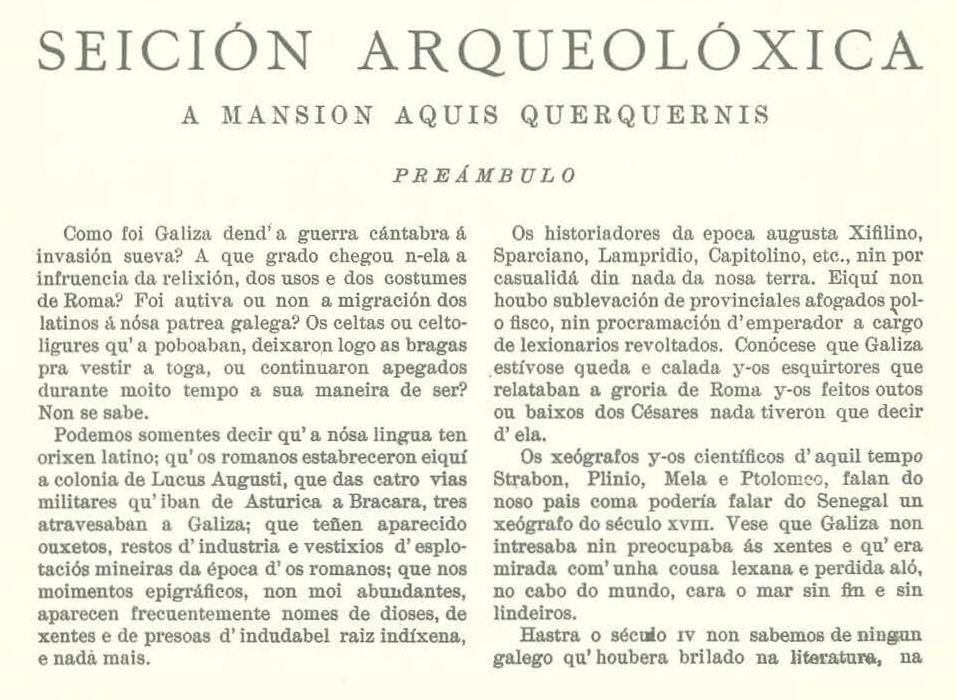 Artículo de López Cuevillas en el número 9 de la revista Nós.