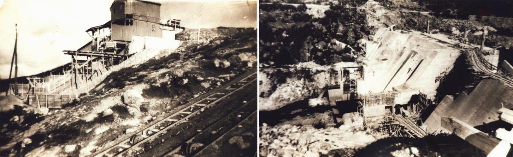 Construcción de la presa de As Conchas (1945). Fotos tomadas de