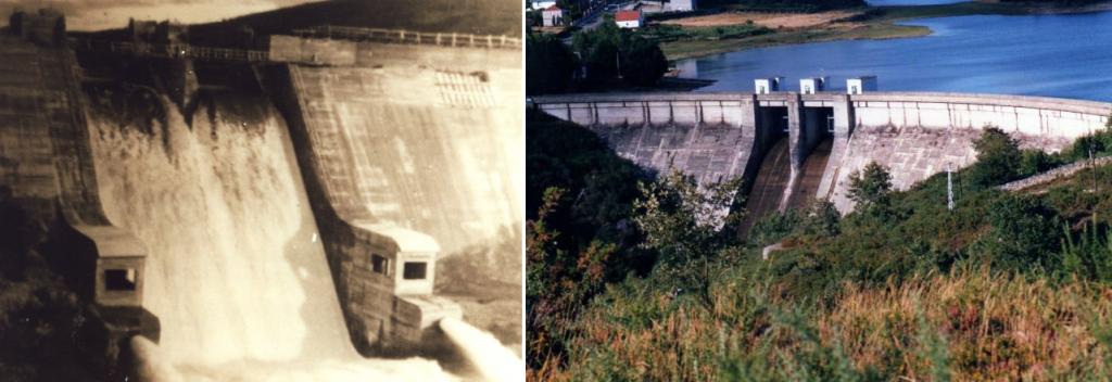 El embalse de As Conchas el día de su inauguración (izquierda) y en la actualidad (derecha). Fotografías recogidas aquí.