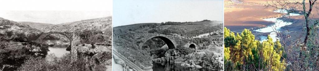A Pontepedriña en 1900 (izq.), 1943 (centro) y 2000's (der.)